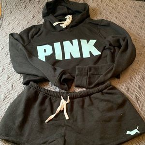 Victoria Secret Pink Cropped Hoodie and short set